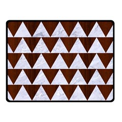 Triangle2 White Marble & Reddish Brown Wood Double Sided Fleece Blanket (small)  by trendistuff