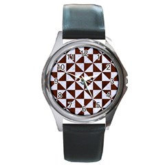 Triangle1 White Marble & Reddish Brown Wood Round Metal Watch