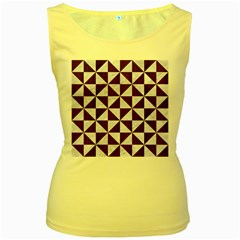Triangle1 White Marble & Reddish Brown Wood Women s Yellow Tank Top