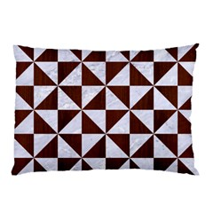 Triangle1 White Marble & Reddish Brown Wood Pillow Case (two Sides) by trendistuff