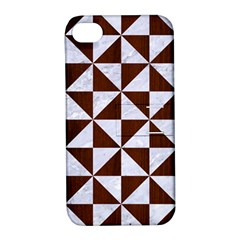 Triangle1 White Marble & Reddish Brown Wood Apple Iphone 4/4s Hardshell Case With Stand