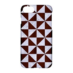 Triangle1 White Marble & Reddish Brown Wood Apple Iphone 8 Hardshell Case