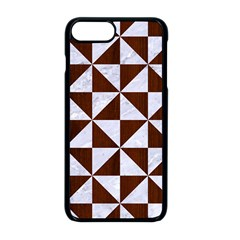 Triangle1 White Marble & Reddish Brown Wood Apple Iphone 8 Plus Seamless Case (black)