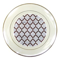 Tile1 White Marble & Reddish Brown Wood (r) Porcelain Plates by trendistuff