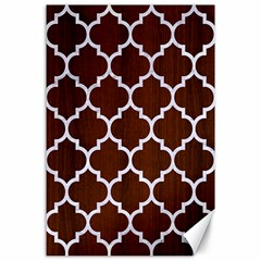 Tile1 White Marble & Reddish Brown Wood Canvas 24  X 36  by trendistuff