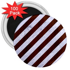 Stripes3 White Marble & Reddish Brown Wood (r) 3  Magnets (100 Pack) by trendistuff