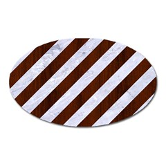 Stripes3 White Marble & Reddish Brown Wood (r) Oval Magnet by trendistuff