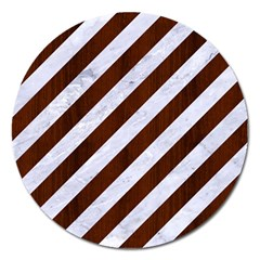 Stripes3 White Marble & Reddish Brown Wood (r) Magnet 5  (round) by trendistuff
