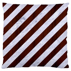 Stripes3 White Marble & Reddish Brown Wood (r) Large Cushion Case (two Sides) by trendistuff