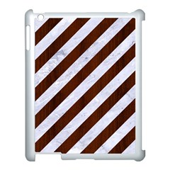 Stripes3 White Marble & Reddish Brown Wood (r) Apple Ipad 3/4 Case (white) by trendistuff