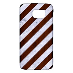 Stripes3 White Marble & Reddish Brown Wood (r) Galaxy S6 by trendistuff