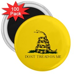 Gadsden Flag Don t Tread On Me 3  Magnets (100 Pack) by snek