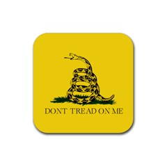 Gadsden Flag Don t Tread On Me Rubber Square Coaster (4 Pack)  by snek