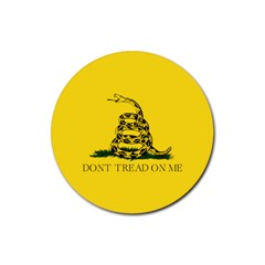 Gadsden Flag Don t Tread On Me Rubber Round Coaster (4 Pack)  by snek