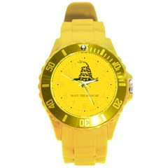 Gadsden Flag Don t Tread On Me Round Plastic Sport Watch (l) by snek