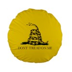 Gadsden Flag Don t tread on me Standard 15  Premium Flano Round Cushions Front