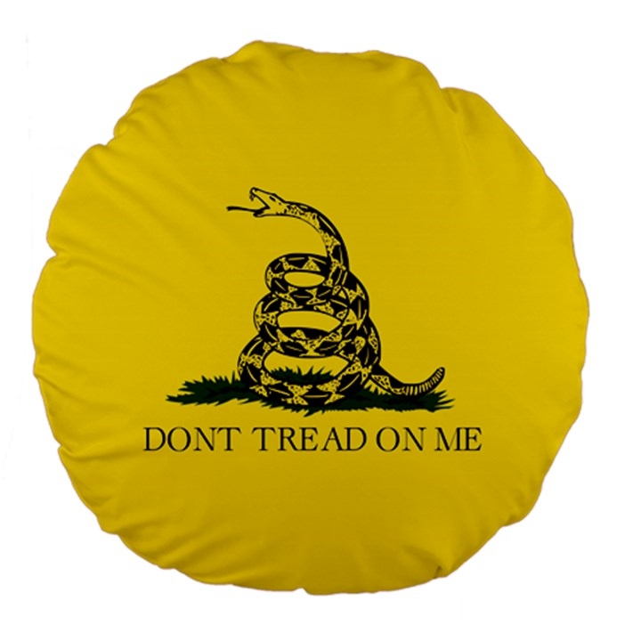 Gadsden Flag Don t tread on me Large 18  Premium Flano Round Cushions