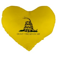 Gadsden Flag Don t Tread On Me Large 19  Premium Flano Heart Shape Cushions by MAGA