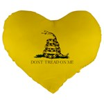 Gadsden Flag Don t tread on me Large 19  Premium Flano Heart Shape Cushions Front