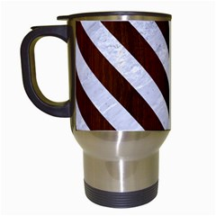 Stripes3 White Marble & Reddish Brown Wood Travel Mugs (white) by trendistuff
