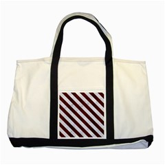 Stripes3 White Marble & Reddish Brown Wood Two Tone Tote Bag by trendistuff
