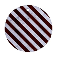 Stripes3 White Marble & Reddish Brown Wood Round Ornament (two Sides)