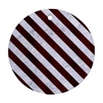 STRIPES3 WHITE MARBLE & REDDISH-BROWN WOOD Round Ornament (Two Sides) Back