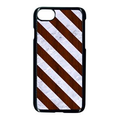 Stripes3 White Marble & Reddish Brown Wood Apple Iphone 7 Seamless Case (black) by trendistuff