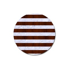 Stripes2white Marble & Reddish Brown Wood Magnet 3  (round) by trendistuff
