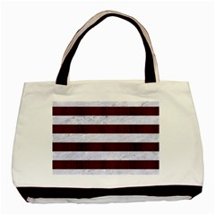 Stripes2white Marble & Reddish Brown Wood Basic Tote Bag by trendistuff