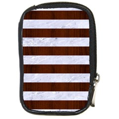 Stripes2white Marble & Reddish Brown Wood Compact Camera Cases by trendistuff