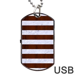 Stripes2white Marble & Reddish Brown Wood Dog Tag Usb Flash (one Side) by trendistuff