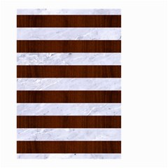 Stripes2white Marble & Reddish Brown Wood Small Garden Flag (two Sides) by trendistuff