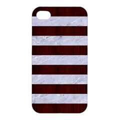 Stripes2white Marble & Reddish Brown Wood Apple Iphone 4/4s Premium Hardshell Case by trendistuff