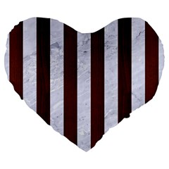 Stripes1 White Marble & Reddish Brown Wood Large 19  Premium Flano Heart Shape Cushions by trendistuff