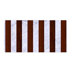 Stripes1 White Marble & Reddish Brown Wood Satin Wrap by trendistuff