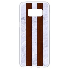 Stripes1 White Marble & Reddish Brown Wood Samsung Galaxy S8 White Seamless Case by trendistuff