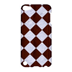 Square2 White Marble & Reddish Brown Wood Apple Ipod Touch 5 Hardshell Case by trendistuff