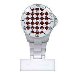 Square2 White Marble & Reddish Brown Wood Plastic Nurses Watch by trendistuff