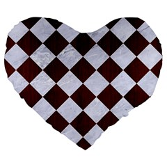 Square2 White Marble & Reddish Brown Wood Large 19  Premium Flano Heart Shape Cushions by trendistuff