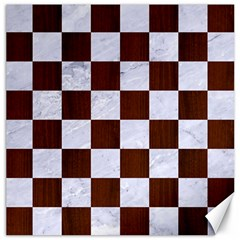 Square1 White Marble & Reddish Brown Wood Canvas 20  X 20