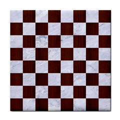 Square1 White Marble & Reddish Brown Wood Face Towel by trendistuff