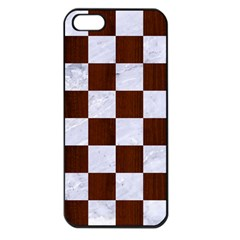 Square1 White Marble & Reddish Brown Wood Apple Iphone 5 Seamless Case (black) by trendistuff