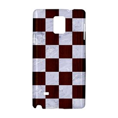 Square1 White Marble & Reddish Brown Wood Samsung Galaxy Note 4 Hardshell Case by trendistuff