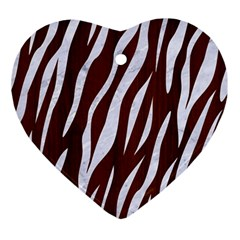 Skin3 White Marble & Reddish Brown Wood Ornament (heart) by trendistuff