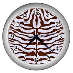 Skin2 White Marble & Reddish Brown Wood (r) Wall Clocks (silver)  by trendistuff