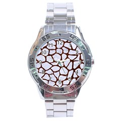 Skin1 White Marble & Reddish Brown Wood Stainless Steel Analogue Watch by trendistuff