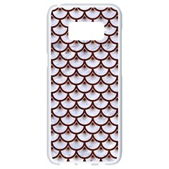 Scales3 White Marble & Reddish Brown Wood (r) Samsung Galaxy S8 White Seamless Case by trendistuff