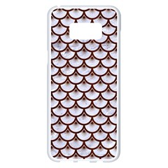 Scales3 White Marble & Reddish Brown Wood (r) Samsung Galaxy S8 Plus White Seamless Case by trendistuff