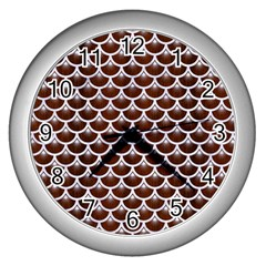 Scales3 White Marble & Reddish Brown Wood Wall Clocks (silver)  by trendistuff